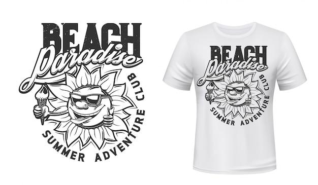Summer sun with ice cream t-shirt print Premium Vector