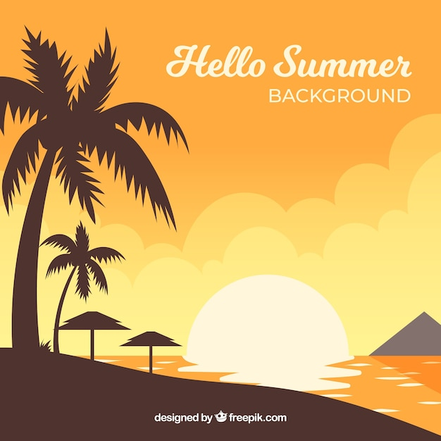 summer sunset background with beach view vector free download rh freepik com free vector sunset free vector mustache