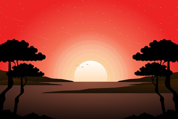 Summer sunset sky with silhouette tree landscape Premium Vector