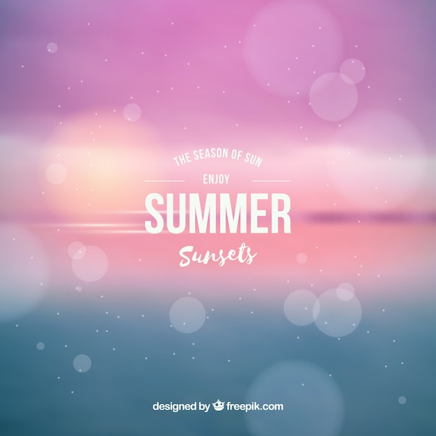 Summer sunset with blurred background