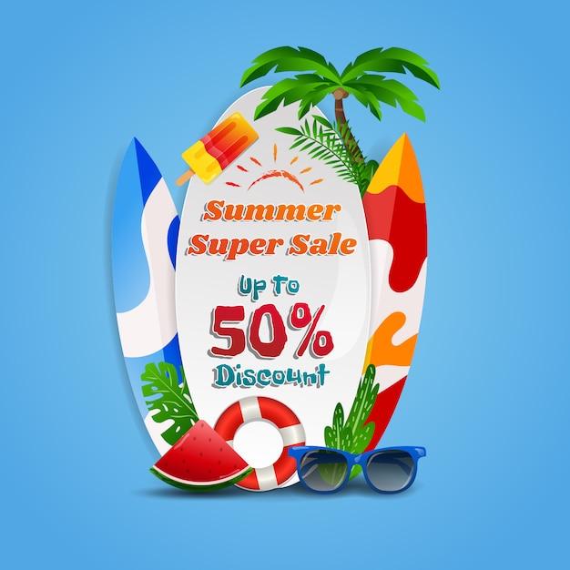 Summer super sale discount beach theme background Premium Vector