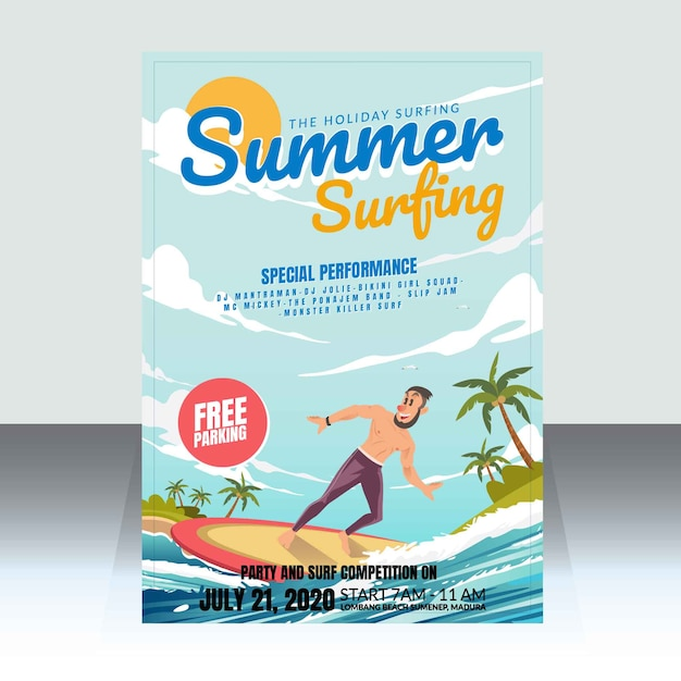 Summer surfing competition poster Premium Vector