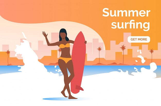 Summer surfing get more presentation Free Vector