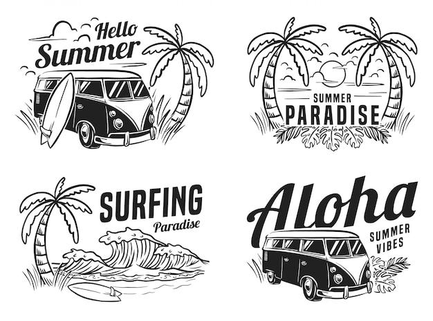 Summer surfing vacation beach monochrome illustration Premium Vector