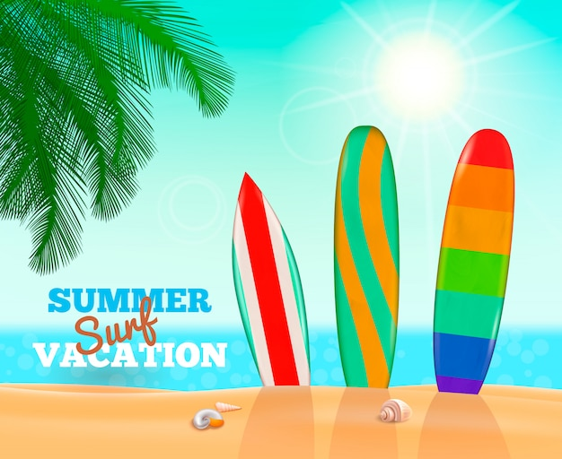 Summer surfing vacation composition Free Vector