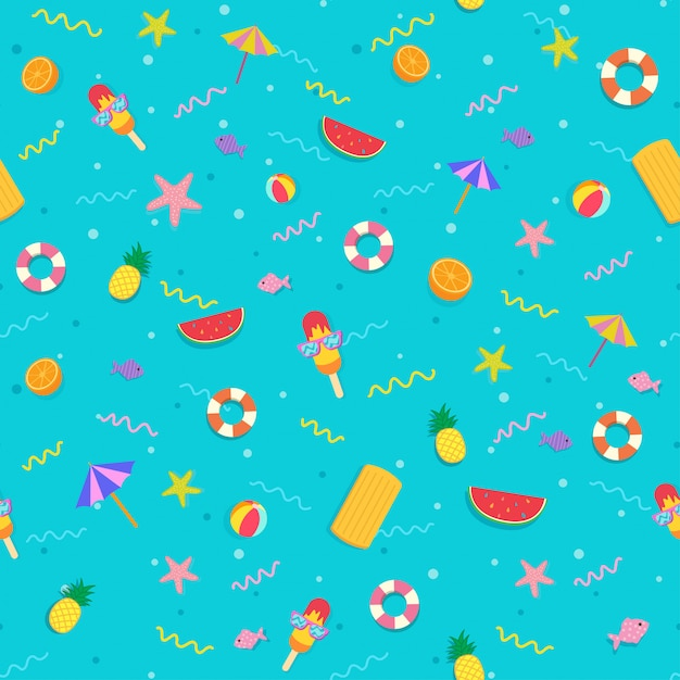 Summer symbol to seamless pattern on blue background. Premium Vector