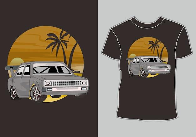 해변에서 여름 티셔츠 클래식, 빈티지, 레트로 자동차 프리미엄 벡터