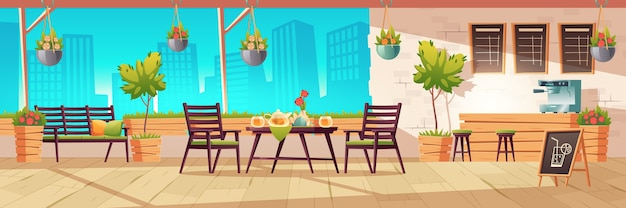 Summer terrace, outdoor city cafe, coffeehouse with wooden table, chairs and potted plants, chalkboard menu on cityscape view background. street drinks or snacks cafeteria, cartoon illustration Free Vector