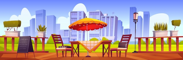 Summer terrace, outdoor city cafe, coffeehouse Free Vector