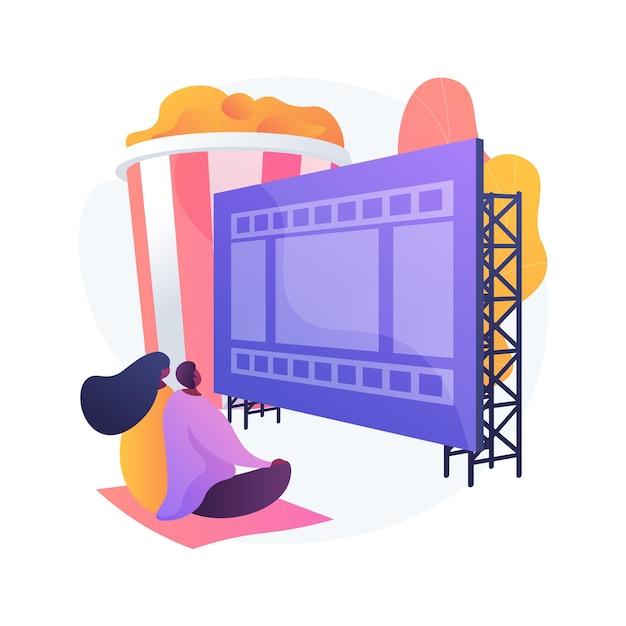 Летний театр. летние развлечения, просмотр фильмов, отдых на природе. пара, наслаждаясь расслабляющим вечером в кинотеатре под открытым небом, идея романтического свидания. Бесплатные векторы