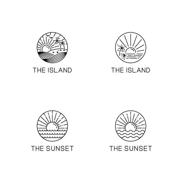 Summer theme logo collection Premium Vector