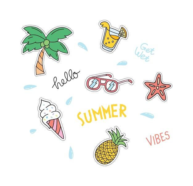 Summer theme patches set Premium Vector