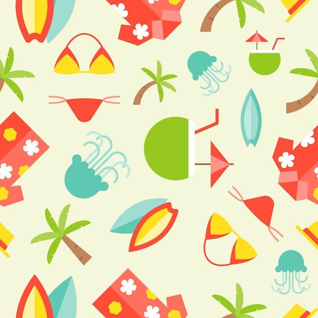 Summer theme seamless pattern vector Premium Vector