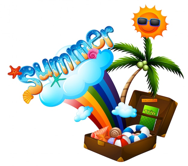 Summer theme with suitcase and sun Free Vector