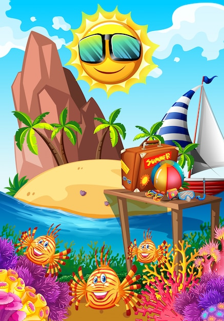 Summer theme with sun and island Free Vector