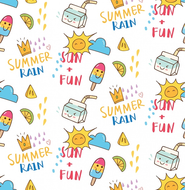 Summer themed doodle seamless background Premium Vector