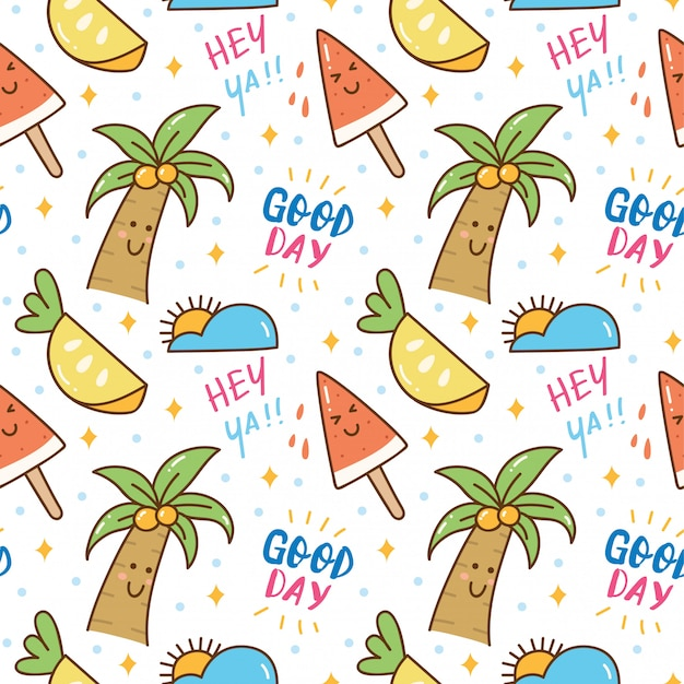 Summer themed kawaii seamless pattern Premium Vector