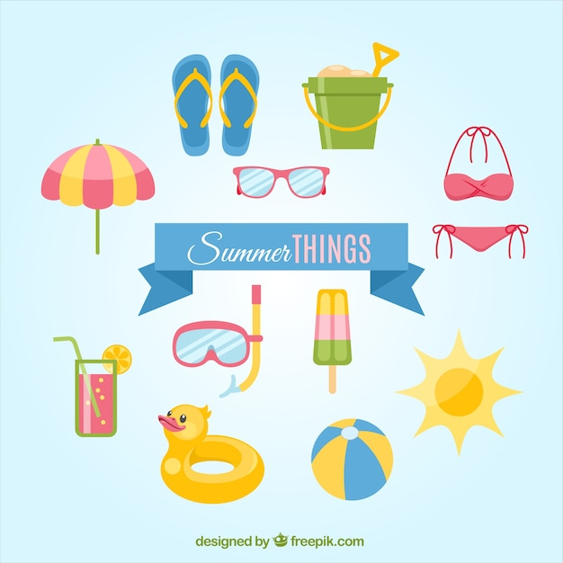 Summer things Free Vector