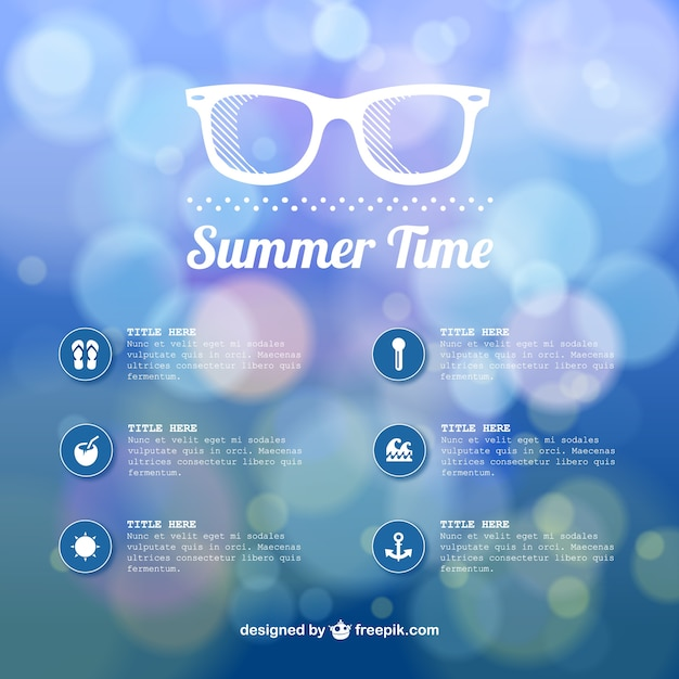 Summer time abstract bokeh template Free Vector