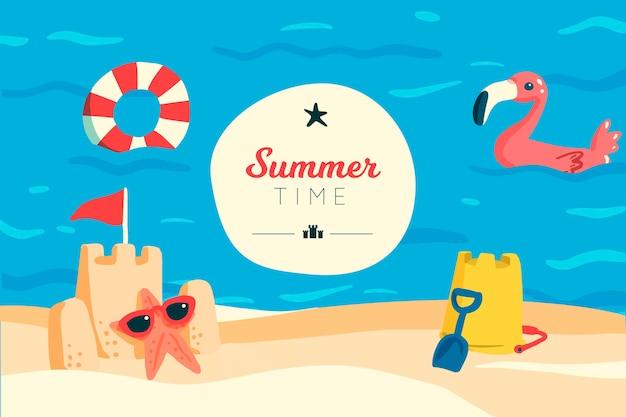 夏の時間と砂の城の背景 無料ベクター