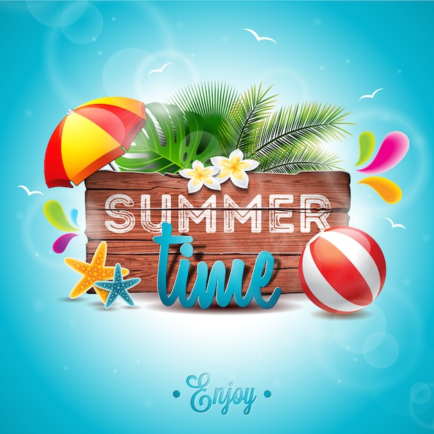 Summer time background palm tree design | Free Vector