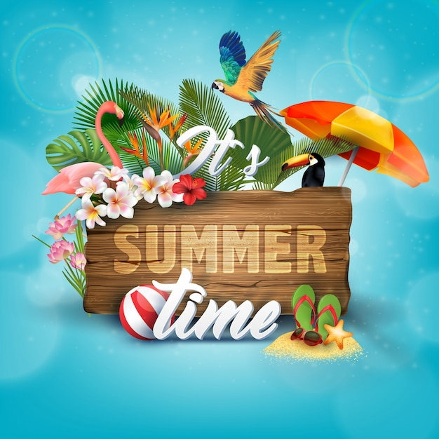 Summer time background with summer elements Premium Vector