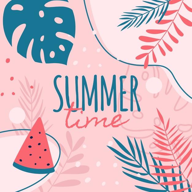 夏の時間の背景 Premiumベクター