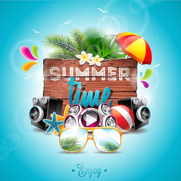 Summer time background Free Vector
