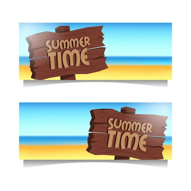 Summer time beach banner Premium Vector