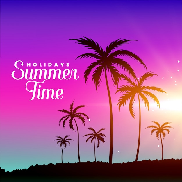 Summer time beach scene with palm trees Free Vector