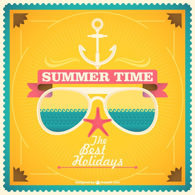 Summer time card with sunglasses Free Vector
