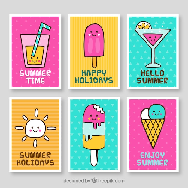 summer time cards collection vector free download