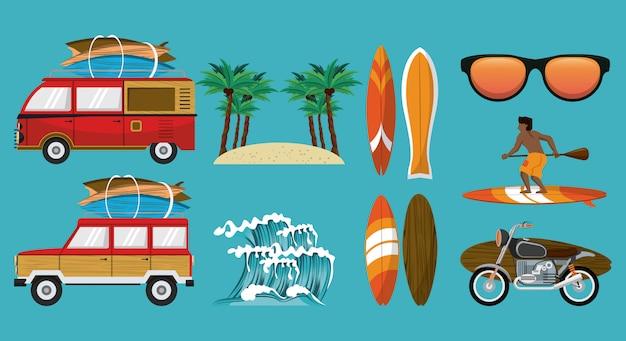Summer time cartoon set Premium Vector