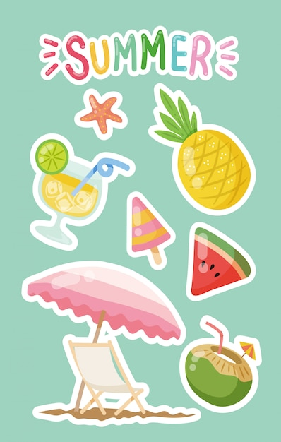 Summer time clipart Premium Vector