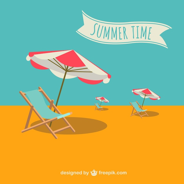 Summer time deck chairs and umbrellas Free Vector