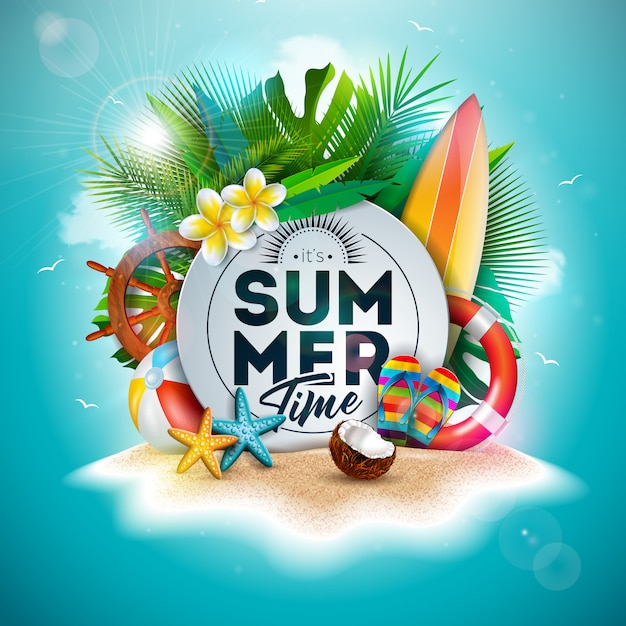 Summer time holiday illustration with flower and tropical palm leaves Premium Vector