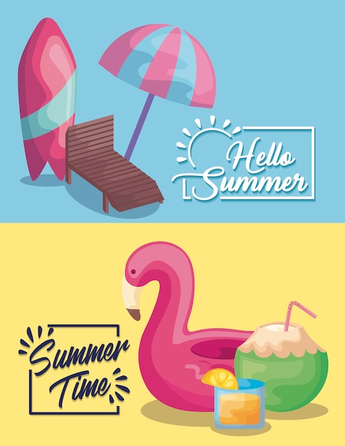 Summer time holiday poster with surfboard and flemish float Free Vector