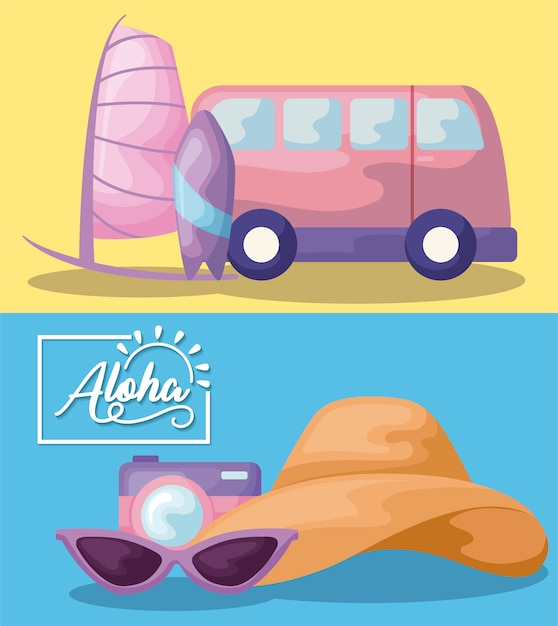 Summer time holiday poster with van and camera Free Vector