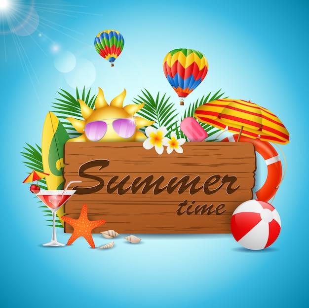 Summer time holiday typographic illustration on vintage wood. vector illustration Premium Vector