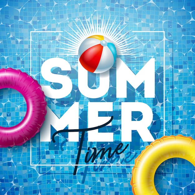 Summer time illustration with float and beach ball on pool water Premium Vector