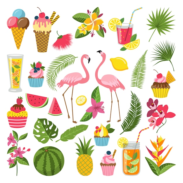 Summer time labels set for tropical party. different icons in flat style. Premium Vector