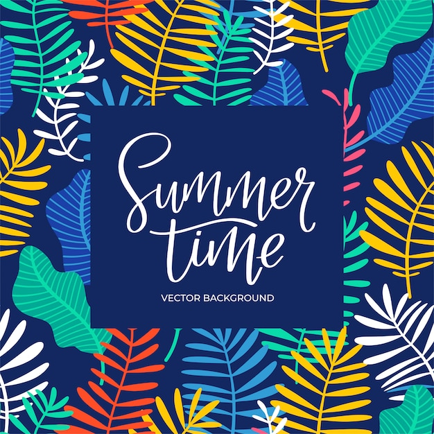 Summer time lettering background Premium Vector
