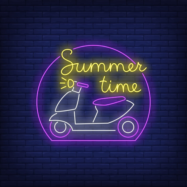 Summer time neon lettering and scooter logo Free Vector