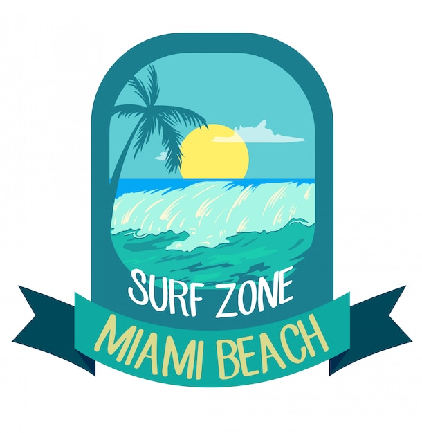 Summer time, palms, wave and sun creative logo badge Premium Vector