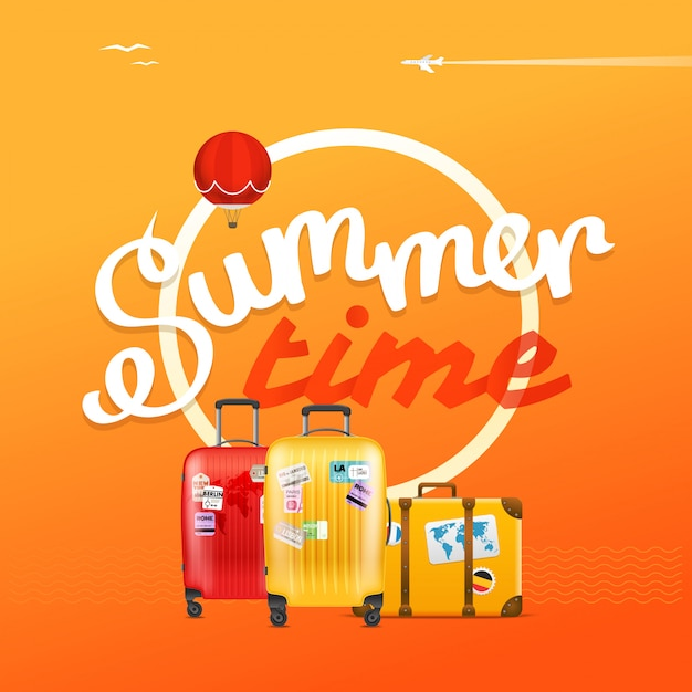 Summer time poster Premium Vector