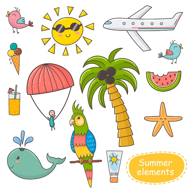 Summer time set. vacation theme elements. Premium Vector