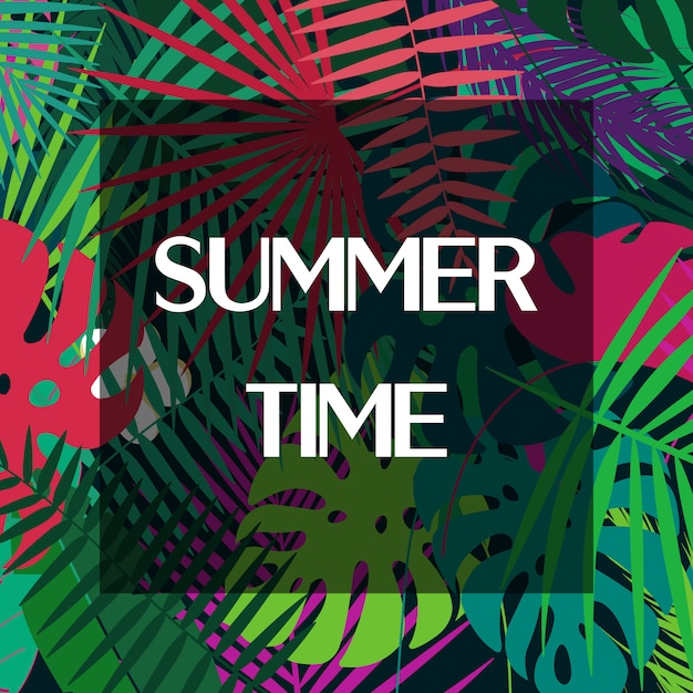Summer time text on colorful palm leaves. Premium Vector