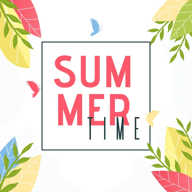 Summer time text in frame. Premium Vector