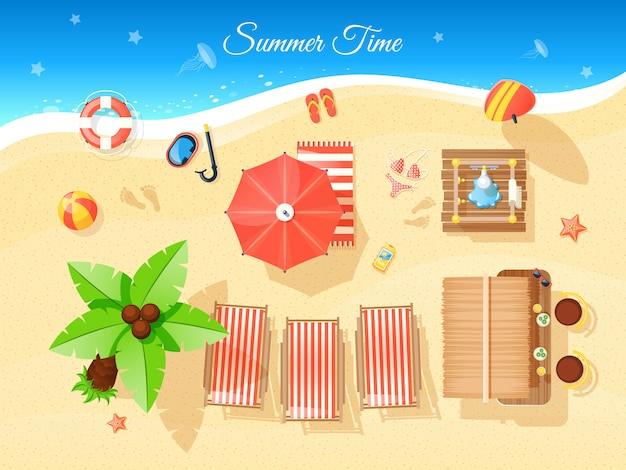 Summer time top view illustration Free Vector