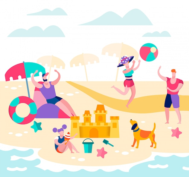 Summer time vacation, happy family relax on beach Premium Vector